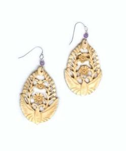 butterfly bone carved earrings