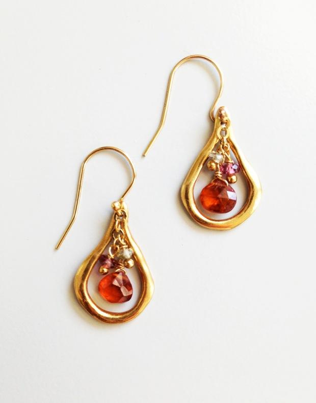Pam Older Designs Vermeil and Mandarin Garnet Mini Hoop