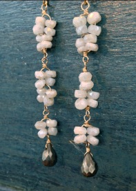 Long SIllimanite Earring with Pyrite Drops, at www.pamolder.com