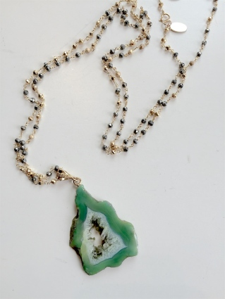 necklace_long Green drusy
